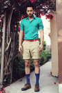 Dark-brown-brogue-oxfords-zara-shoes-turquoise-blue-h-m-shirt-tan-h-m-shorts