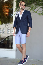 navy 7 Diamonds blazer - white H&M shirt - light blue Topman shorts