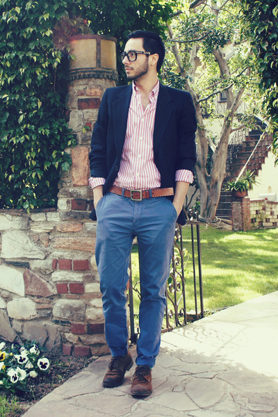brown H&M belt - dark brown brogues Zara shoes - navy Givenchy blazer