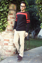 crimson Vans shoes - Mr Turk sweater - beige Zara pants - black Tom Ford glasses