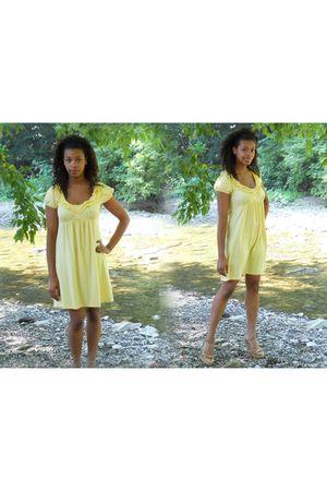 gold Charlotte Russe dress - beige shoes