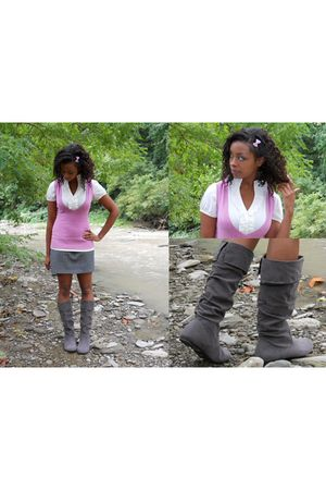pink Uban Behavior vest - gray Wet Seal boots - gray Old Navy skirt