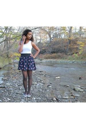 navy floral Forever 21 skirt
