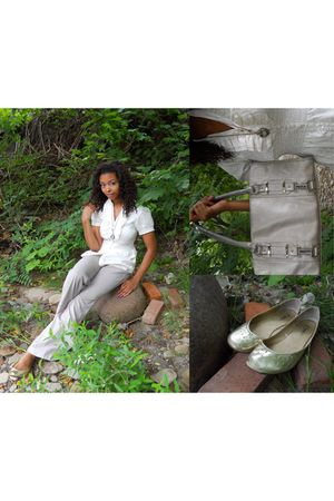 white Charlotte Russe blouse - beige Charlotte Russe pants