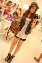 bowler hat Zara hat - basic Zara shirt - alexa lookalike Zara bag - biker shorts