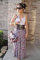 white No Boundaries skirt - brown belt - gold earrings - gold Icing bracelet - p