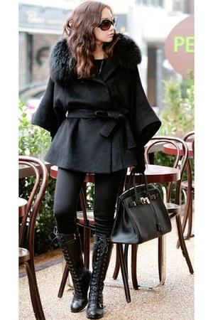 black lace up boots - black leggings - black fur collar cape