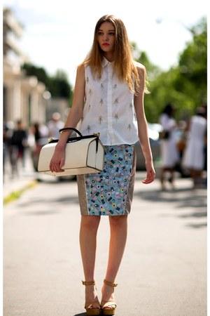 cream bag - ivory top - light blue skirt