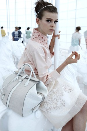 off white bag - neutral blouse