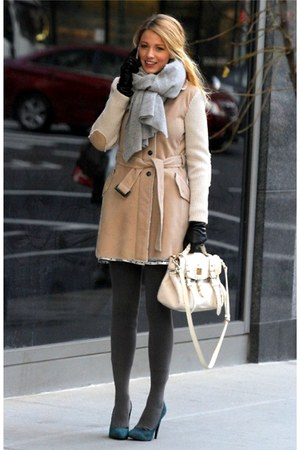 eggshell coat - charcoal gray tights - periwinkle scarf - ivory bag