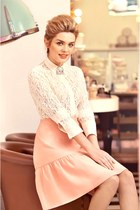 ivory lace blouse - peach skirt