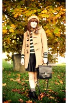 nude coat - nude hat - black bag - black skirt