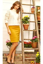 yellow skirt - nude shoes - ivory sweater