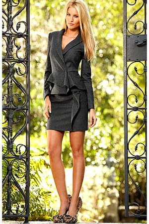charcoal gray blazer - charcoal gray skirt