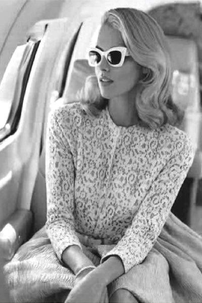 white sunglasses - off white blouse - off white skirt