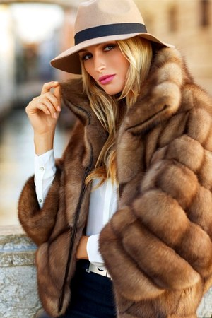 light brown Faux fur jacket - eggshell hat - white shirt