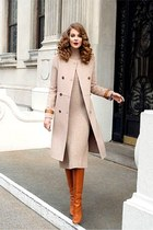 eggshell coat - tawny boots - eggshell dress