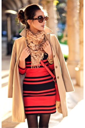 camel coat - red dress