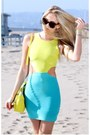 Light-yellow-top-dress-aquamarine-skirt-dress