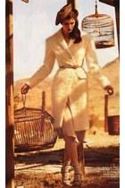 cream coat - camel hat - dark khaki socks - camel belt