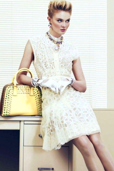 light yellow bag - ivory dress