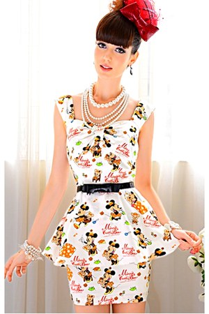 ivory mickey peplum dress