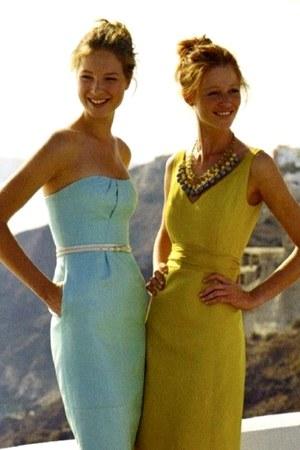 light blue dress - yellow dress