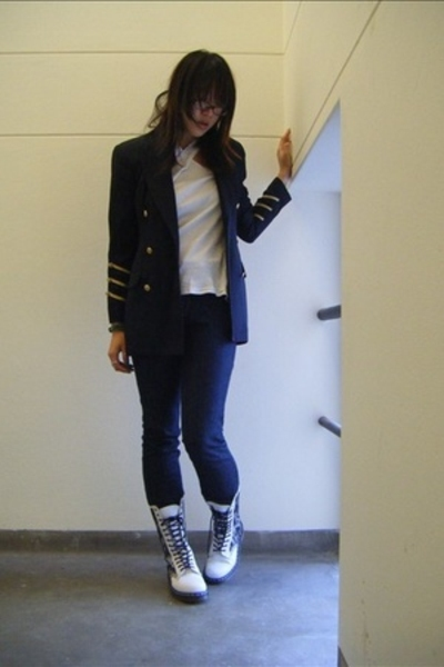 blazer - top - Uniqlo jeans - doc martens shoes