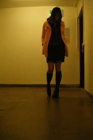 coat - sweater - lakdah skirt - Miss Shop socks
