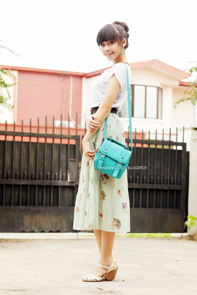 turquoise blue bag - lime green Harajuku skirt - white ROMP blouse