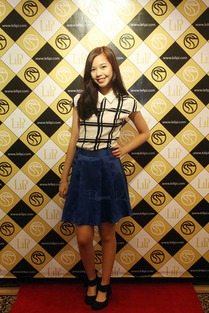white black and white Rich Girl top - navy high waisted Rich Girl skirt