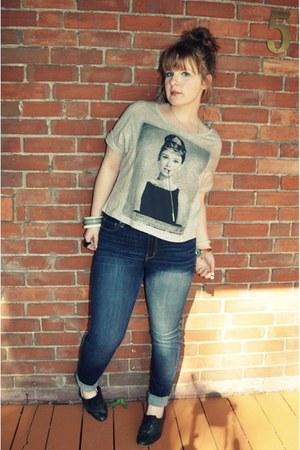 big buddha shoes - American Eagle jeans - Forever 21 shirt - vintage bracelet