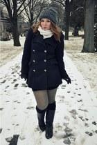 vintage boots - H&M tights - vintage coat - vintage scarf - thrifted hat