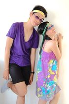 purple top - black shorts - blue sunglasses - purple dress - purple sunglasses