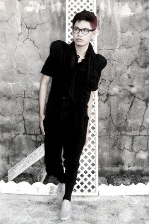 black DIY top - black trifted scarf - black trifted pants - black Topshop socks