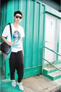 Black-ray-ban-t-shirt-blue-lacoste-white-levis-pants-black-shoes-silver-