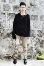 Black-glasses-black-esprit-sweater-pants-black-shoes