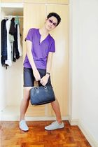 purple top - black shorts - black purse
