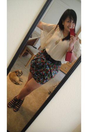 Forever21 skirt - Forever21 blouse - black Aldo boots - black belt