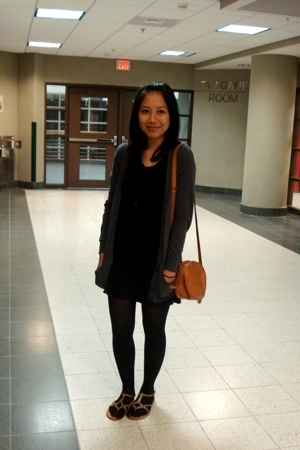 Old Navy dress - Il Bisonte purse - DKNY tights - Aldo shoes