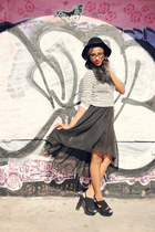 black basinski Aldo heels - black Hurley hat - ivory zamba Press sweater