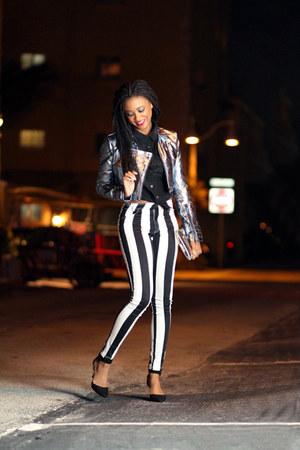 silver Style Stalker jacket - black Motel jeans - black cropped shirt H&M shirt