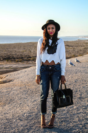 crop top Choies top - Express jeans - satchel 31 Phillip Lim bag