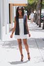 White-skater-express-dress-navy-sleeveless-theory-vest-crimson-lamb-heels