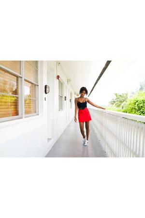 black fringe Bebe top - red mini Zara skirt - white floral print Adidas sneakers