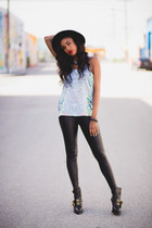 light blue cotton Vividly top - black Alexander Wang boots - black asos leggings