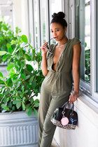 army green ShopTobi jumper - satchel Furla bag - silver dior sunglasses