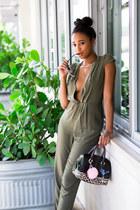 army green ShopTobi jumper - satchel Furla bag - silver dior sunglasses