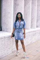 sky blue denim Standards & Practices skirt - crossbody Chanel bag
