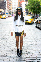 white gypsy warrior shirt - black Alexander Wang boots - black OATW hat